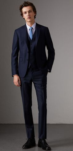 An Italian-made three-piece wool suit cut in our slim fit. The design is part of the Burberry Travel Tailoring collection and combines new, modern canvassing and natural memory fabrics designed to flex with the movement of the body, while retaining a sharp structure. Staying true to traditional tailoring, finer details includes a Melton undercollar and notch lapels. Trousers are flat-fronted with a sharp crease to the leg and unfinished hems.