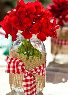 4th of July flowers. I like the idea of the burlap wrapped around the jar.