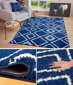 Adding a blue accent rug with a geometric design to your space creates a fun way to include visual interest to a room. #BlueRugs #BlueGeometricRug #ModernRug #HomeDecor #ModernInterior
