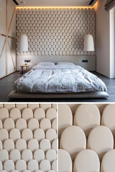 An Eye-Catching Bedroom Accent Wall Made From Rows Of Stone-Like Pieces
