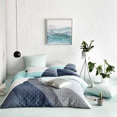 Home Republic Beckett Mint Quilt Cover, doona cover, bedlinen