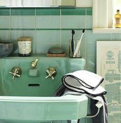 lavabo colonne bleu design rétro