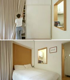 At the end of the storage wall in this micro apartment is a fold down bed. This allows for the openness of the apartment to be enjoyed throughout the day without the bed being in the way. Above the bed more cabinets for storage. #MicroApartment #MurphyBed #FoldDownBed #Small Apartment