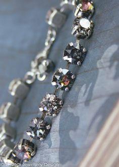 Crystal bracelet,Swarovski bracelet,black crystal bracelet,Swarovski black patina,salt and pepper diamond,gift for her,gift for friend,gift