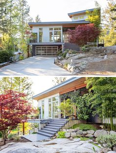 ONE SEED Architecture + Interiors have designed a new modern house on the Sunshine Coast of British Columbia, Canada, that's perched atop a terraced outcrop of granite overlooking Garden Bay. #ModernHouse #Landscaping #Garden
