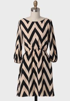 Along The Boulevard Chevron Dress In Ivory $46.99