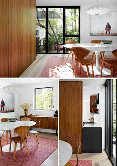 In this modern dining room, a large rug and a single pendant light dictate the location of the table, while artwork adds a fun touch and complements the colors in the rug. #ModernDiningRoom #DiningRoom
