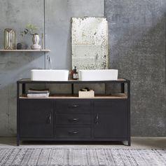 Une touche moderne à votre salle de bain avec ce meuble sous vasque Industriel en métal et manguier provenant d'Inde. #Tikamoon