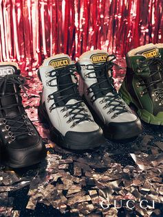 Inspired by hiking boots, the high-top Flashtrek features a wool lining and an oversized sole.