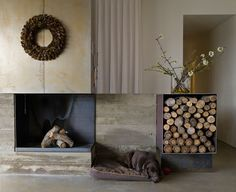Fireplace Ideas - This modern house features a steel-lined fireplace and a steel firewood storage box, while board-formed concrete shows the construction of the house. #Fireplace #SteelFireplace #FireplaceIdeas #ModernFireplace