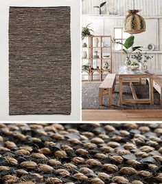 Including a mixed material rug in your modern farmhouse interior helps to create a unique look, like this rug that features strips of leather and jute woven together. #ModernFarmhouse #ModernRug #HomeDecor #RugIdeas