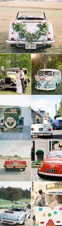 17 Ideeën om je bruid na het feest te ontvoeren van de bruiloft: Vintage Trouwauto's