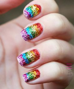 Rainbow Nails: Sparkle Rainbow Nail Art