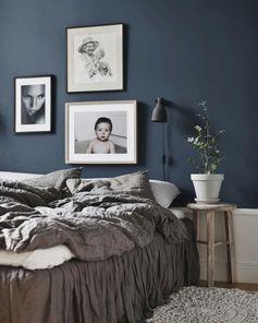Dark blue bedroom wall