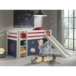 Halbhochbett Pino Weiss Massiv Spaceman Rutsche Und Textilset 90x200 Cm Roller In 2020 Kleinkind Mobel Bett Ideen Und Kleinkind Zimmer