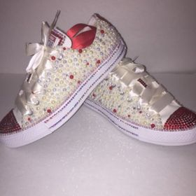 WOMEN'S Tan Red Rose Bedazzle Bling Converse All Star Chuck