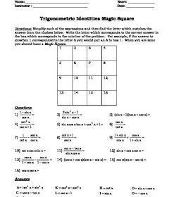 Trigonometry Identity Magic Square Activity Trigonometry Math Charts Student Motivation
