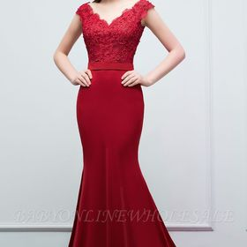 Journey Mermaid Floor Length V Neck Appliques Beads Prom Dresses With Sash Elbise Modelleri Elbise Kiyafet