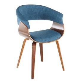 Lumisource Vintage Walnut And Blue Mod Dining Accent Chair Ch Vmonl Wlbu The Home Depot Blue Dining Room Chairs Mid Century Modern Chair Walnut Wood Dining Chair