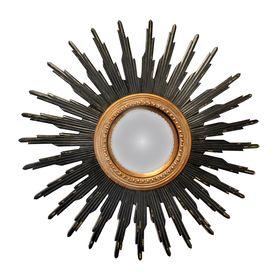 Miroir Rond Soleil Convexe Noir Or Diam 45 Cm Miroir Rond Miroir Et Miroir Soleil