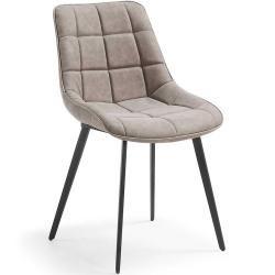 Esszimmerstuhl Im Retro Look Taupe Kunstleder 2er Set 4home4home Metallstuhle Lederstuhle Und Stuhl Kunstleder