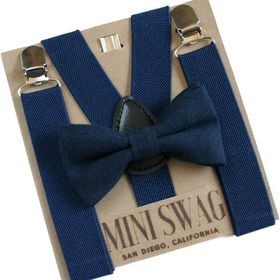 Kids to Adults Sizing Matching Spa Blue Adjustable Suspender and Bow Tie Sets