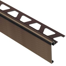 Schluter Rondec Step Brushed Antique Bronze Anodized Aluminum 1 2 In X 8 Ft 2 1 2 In Metal Tile Edging Trim Rs125abgb39 The Home Depot Tile Edge Tile Edge Trim Tile Stair Nosing