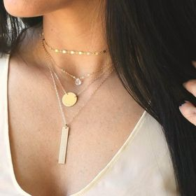 Shell necklace layered necklace Dainty ring gold necklace black /& white necklace set enamel ring horn necklace