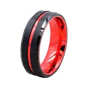 Titanium Yellow IP-plated Grooved 7mm Polished Band Size 5.5 Length Width 7