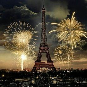 choose your size. Fireworks in Paris  Home Decor Canvas Print