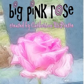 Big Pink Rose - hand-painted organic pillows, linens, art