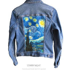 Handmade denim jacket painted by Ciprian Calbeaza