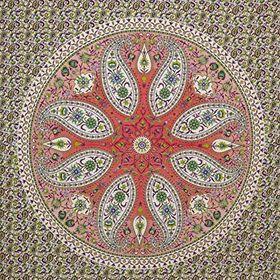Blumenmuster Geometrisch Mehrfarbig Punkte Banarsi Brokat Stoff 110cm Breit