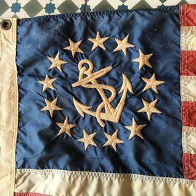 Vintage Indigo Flag Cotton Don/'t Give Up The Ship Nautical Navy Naval Dont USA