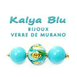 Argent Bleu Noir Feuille Lampwork Verre Murano Perle Collier Pendentif Boucles d/'oreilles Set
