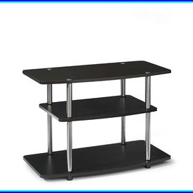 small wooden tv stand on wheels