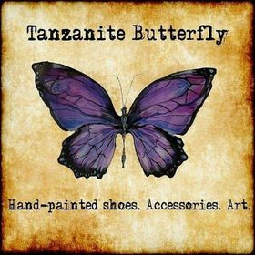 Tanzanite Butterfly Custom Painted Wedding Shoes