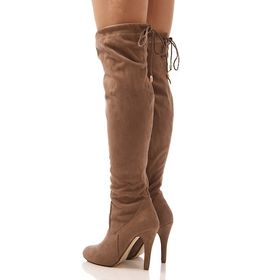 Qupid MONTANA-24 Taupe Faux Suede Slouchy Over Knee Pull On Block Heel Boot