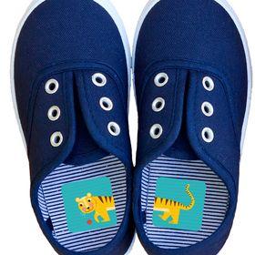 Laufkleber. Schuhe anziehen lernen!