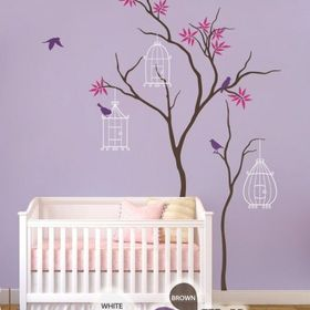 Blowing Cherry Blossom Tree Nursery Wall Decal Wind Blossoms Flowers Home 1181