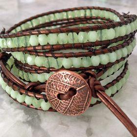 Triple Wrap Kauai Hawaii Leather Boho Bracelet  Czech beads  Pewter Button