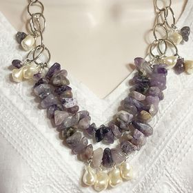 Sparkling Glass Pearl /& Faceted Glass Fashion Necklaces PAIR 22  23 Pearlized and Faceted Glass Handmade Fashion Necklace Pair