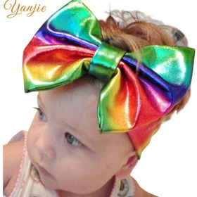 Embroidery Leather Cheer Bow With Elastic Hair Band For Girl Kid Softball Headwear Hair Accessories,Yellow