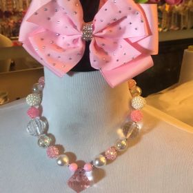 Girls Toddlers Baby Chunky Bubblegum Beaded Yellow And Gold Necklace Bracelet And Matching Flip Sequin Hair Bow Set!!