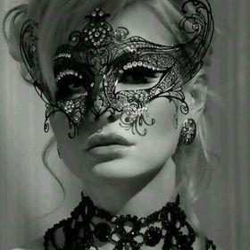"""Naked Female Modern Nude Woman in Elaborate Black Mask 8.5x11/"""" Photo Print"""