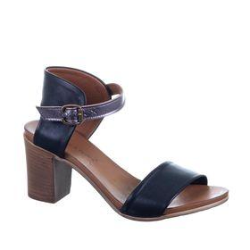 Sandale compensée en cuir ajouré bleu marine Cadiz 097