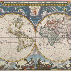 18x24 1664 Unusual Old World Map Nova Terrarum Orbis Tabula Historic
