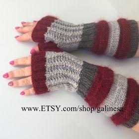 Soft Fingerless Glovelettes Mandala Flower Organic Cotton Wrist Warmers Fingerless Arm Warmers-Grey