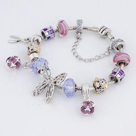 Hot Pink /& Purple Butterfly Custom Year Stainless Steel Heart Bead Charm
