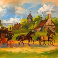 CARRIAGE DRIVER /& GROOM FRENCH INK /& WATERCOLOR PAINTING ART REAL CANVAS PRINT